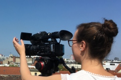Our second Lénaïc Fund for Quality Journalism fellow Judith while filming in Berlin.