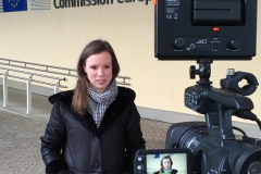 Our second fellow Judith Mischke during a video shoot for the  Lénaïc Fund for Quality Journalism outside the European Commission in Brussels.
