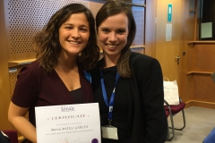 A moment to celebrate: Maria Bofill from Spain (left) was the first fellow on the Lénaïc Fund for Quality Journalism.  Here she is pictured at her award ceremony after completing her fellowship, together with our second fellow, Judith Mischke.